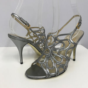 Valentino Garavani Pewter Cut Out Shoes SZ 35 1/2